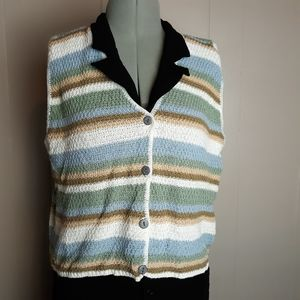 90s Vintage stripe knit vest
